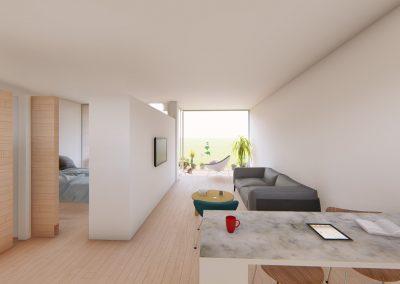 Diseño 3D Vista Salón Cohousing
