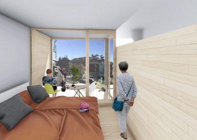 Diseño 3D Dormitorio Cohousing