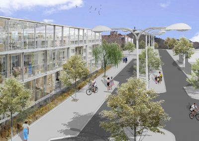 Fachada del proyecto Cohousing: Jardín de las Angélicas